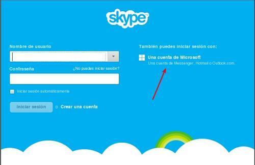 Iniciar sesión en Skype con cuenta Hotmail