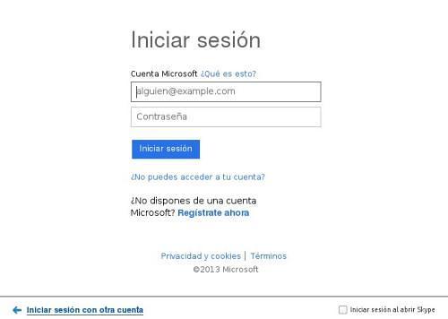Hotmail - Iniciar sesión en Skype